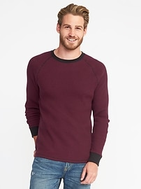 Premium Waffle Long-Sleeve Tee for Men
