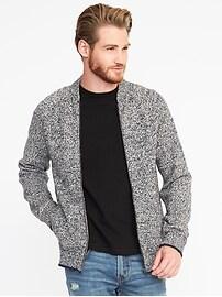 Wool-Blend Full-Zip Sweater for Men