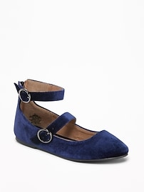 Velvet Double-Strap Flats for Girls