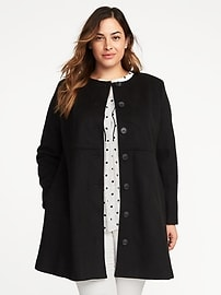 Collarless Wool-Blend Plus-Size Coat