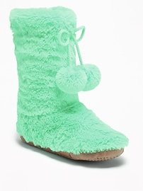 Faux-Fur Pom-Pom Slipper Boots for Girls