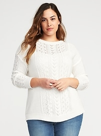Relaxed Plus-Size Cable-Knit Sweater