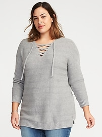 Lace-Up Neck Plus-Size Sweater