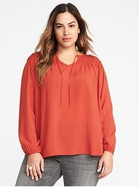 Plus-Size Tie-Front Smocked Blouse