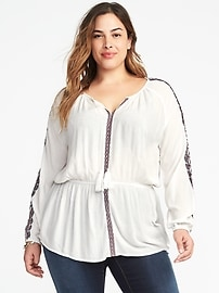 Embroidered Cinch-Waist Plus-Size Blouse