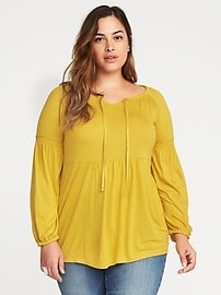 Boho Split-Neck Plus-Size Jersey Top