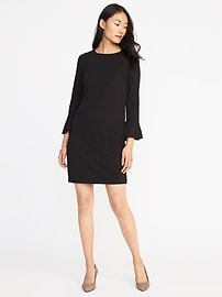 Ponte-Knit Flute-Sleeve Shift Dress for Women