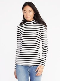 Semi-Fitted Mock-Neck Top for Women