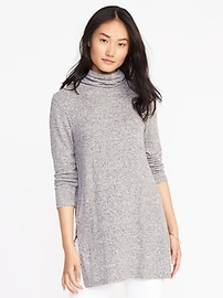 Plush Turtleneck Tunic for Women