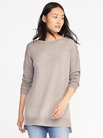 Boat-Neck Tunic Sweater for Women