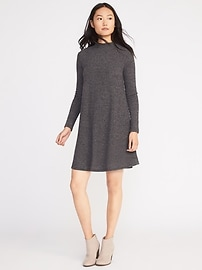 Mock-Neck Sweater Swing Dress for Women
