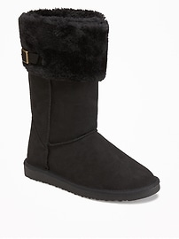 Sueded Faux-Fur Cuff Adoraboots for Girls