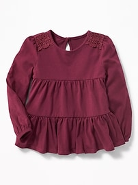 Tiered Lace-Trim Swing Top for Toddler Girls