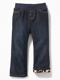 Micro-Fleece-Lined Boot-Cut Jeans for Toddler Girls