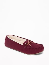 Sueded Sherpa-Lined Moccasin Slippers for Women