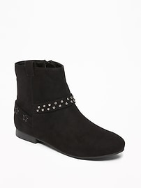 Sueded Studded Ankle Boots for Girls