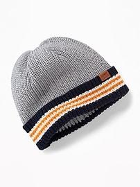 Stripe-Brim Sweater-Knit Beanie for Toddler Boys