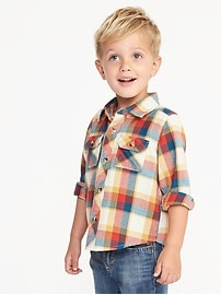 Chemise militaire en flanelle à carreaux pour tout-petit garçon