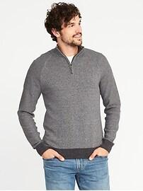 Mock-Neck 1/4-Zip Sweater for Men