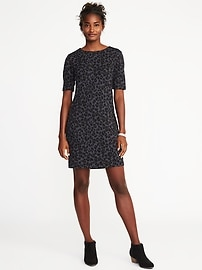 Ponte-Knit Leopard-Print Shift Dress for Women