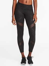 Mid-Rise 7/8-Length Mesh-Panel Compression Leggings for Women