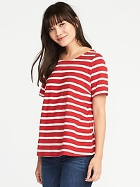 Relaxed Slub-Knit Lace-Up Top for Women