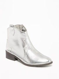 Silver-Metallic Western Ankle Boots for Girls
