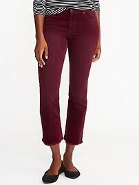 Pantalon en velours côtelé évasé à taille moyenne et longueur à la cheville pour femme