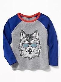 T-shirt imprimé à manches raglan pour tout-petit garçon