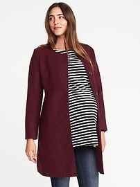 Maternity Collarless Wool-Blend Coat