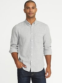 Slim-Fit Herringbone Linen-Blend Classic Shirt for Men