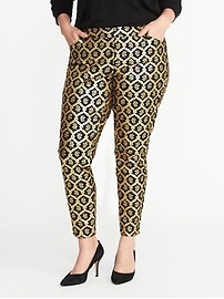 Smooth & Slim Plus-Size Metallic-Printed Pixie Pants