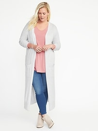 Super-Long Plus-Size Open-Front Cardi