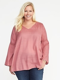 Metallic-Stripe Plus-Size Lace-Trim Blouse