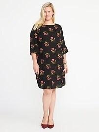 Plus-Size Ruffle-Sleeve Shift Dress