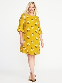 Plus-Size Ruffle-Sleeve Shift Dress