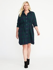 Plus-Size Tie-Waist Shirt Dress