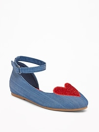 Chambray Sparkle-Heart Flats for Toddler Girls