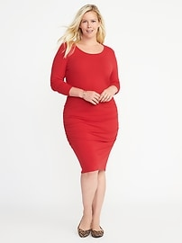 Side-Ruched Plus-Size Bodycon Dress