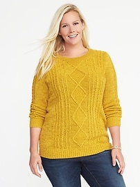 Classic Plus-Size Cable-Knit Sweater