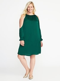 Cold-Shoulder Plus-Size Satin Swing Dress