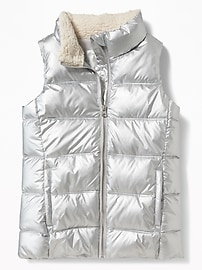 Silver-Metallic Frost-Free Vest for Girls