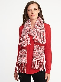 Marled Sweater-Knit Fringed Scarf for Women
