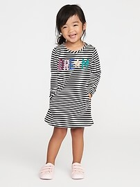 Graphic French Terry Shift Dress for Toddler Girls
