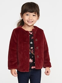 Red Faux-Fur Coat for Toddler Girls