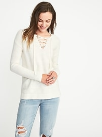 Lace-Up Textured Sweater for Women