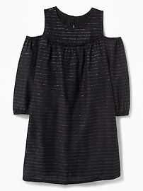 Cold-Shoulder Metallic-Stripe Dress for Girls