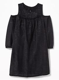 Robe à rayures métalliques à épaules ouvertes pour fille