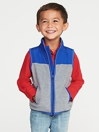 Pieced Yoke Performance Fleece Vest for Toddler Boys