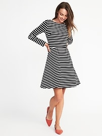 Ponte-Knit Boat-Neck Fit & Flare Dress for Women